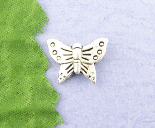 10 Antique Silver Butterfly Spacer Beads 12 x 17mm